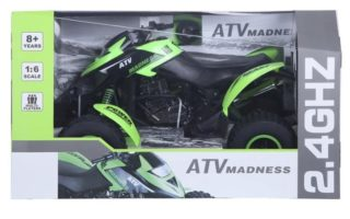 A green remote controlled quad bike toy in packaging