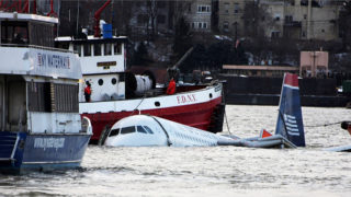 An Airbus A320-214 in New York's Hudson River.