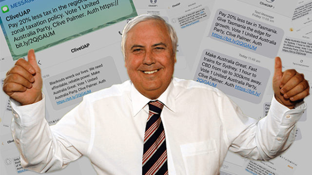 Behind the promises Clive Palmer texted to one-third of voters