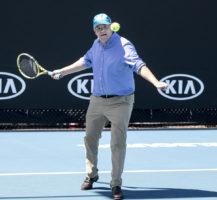 Scott Morrison plays tennis
