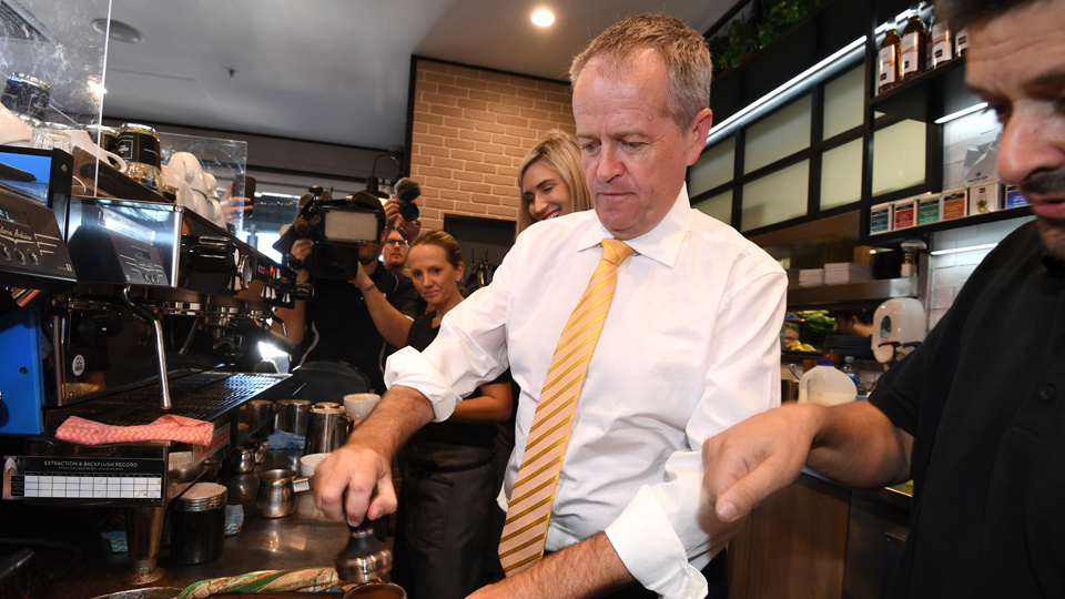 Bill Shorten makes coffee