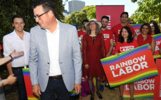Daniel Andrews announced the plan to ban gay conversion therapy at a pride march.