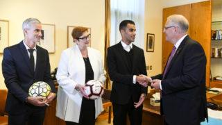 hakeem al-araibi and craig foster in Parliament