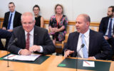 Prime Minister Scott Morrison and Treasurer Josh Frydenberg at last week's housing industry round table.