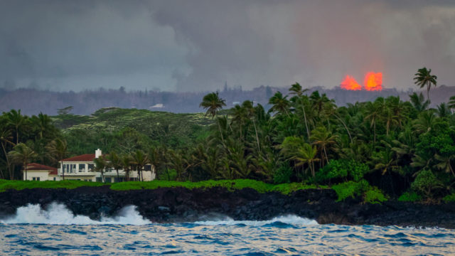 Lava from Kilauea erupts eerily close to houses on the Big Island.