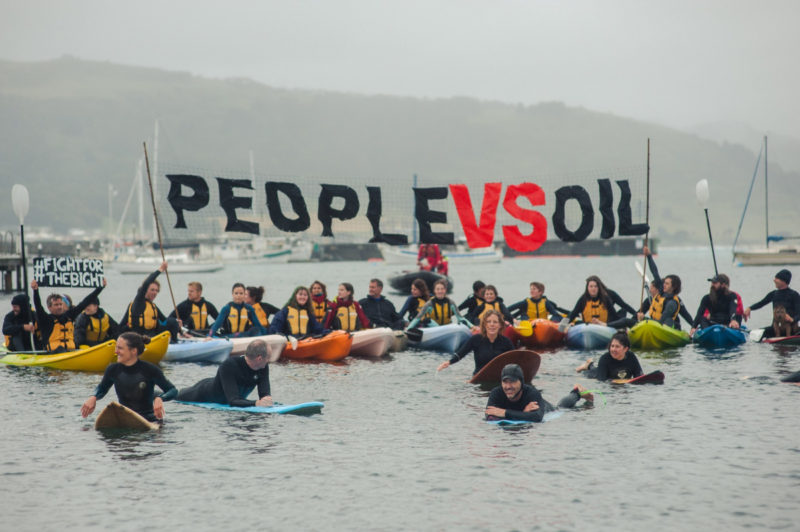 Kayakers and surfers unite to protest against drilling to look for oil in the Bight.