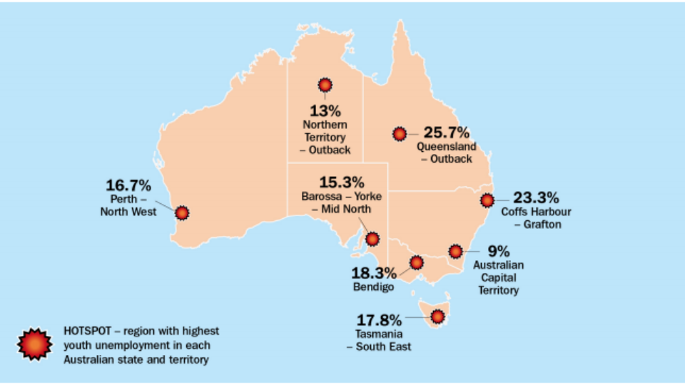 Map Of Young Australia.Youth Unemployment Hotspots And The Rise Of Survival Jobs