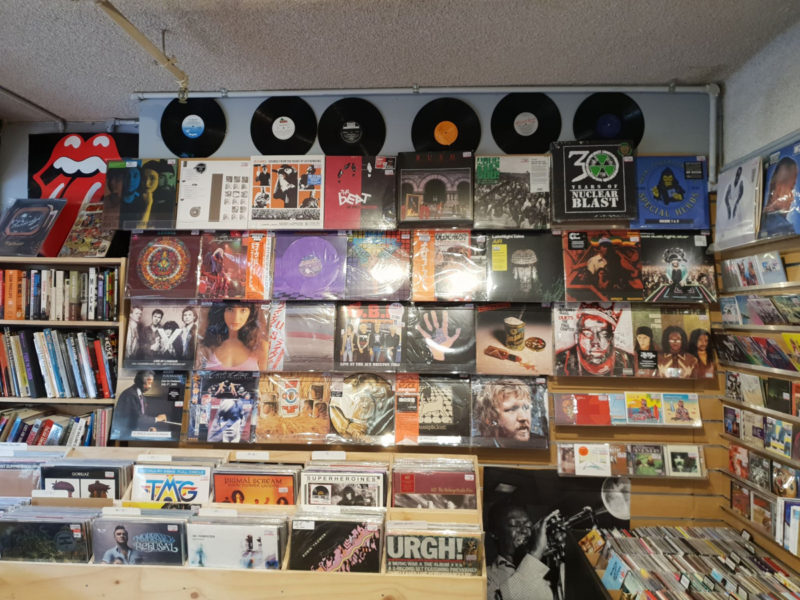 A wall of records in a Melbourne store.