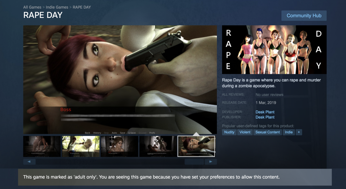 An image of a woman being attacked in the 'Rape Day' video game.