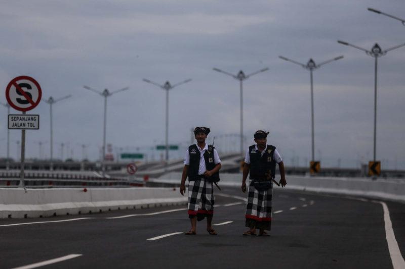 Pecarang patrol abandoned streets in Bali during Nyepi