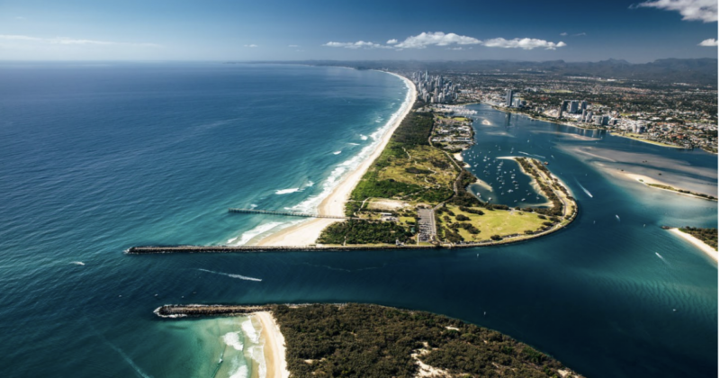 "Aerial view of the Southport Spit, known to locals as ""The Spit""."