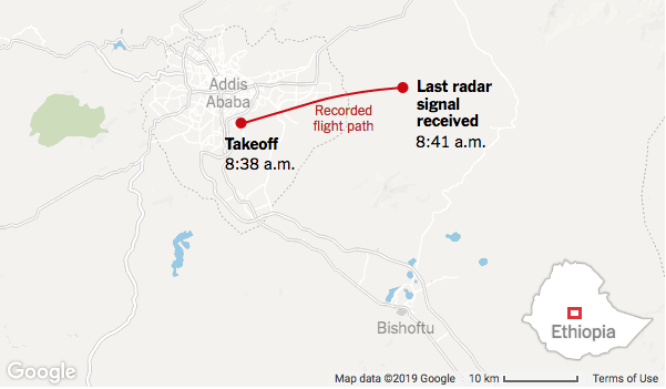 Flight path map of Ethiopian Airlines crash