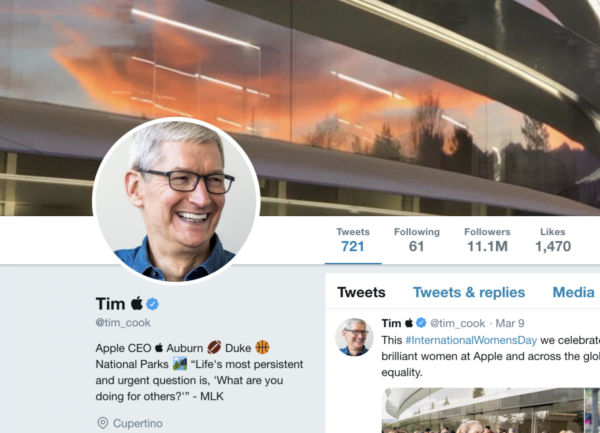 A screenshot of Tim Cook's Twitter account.