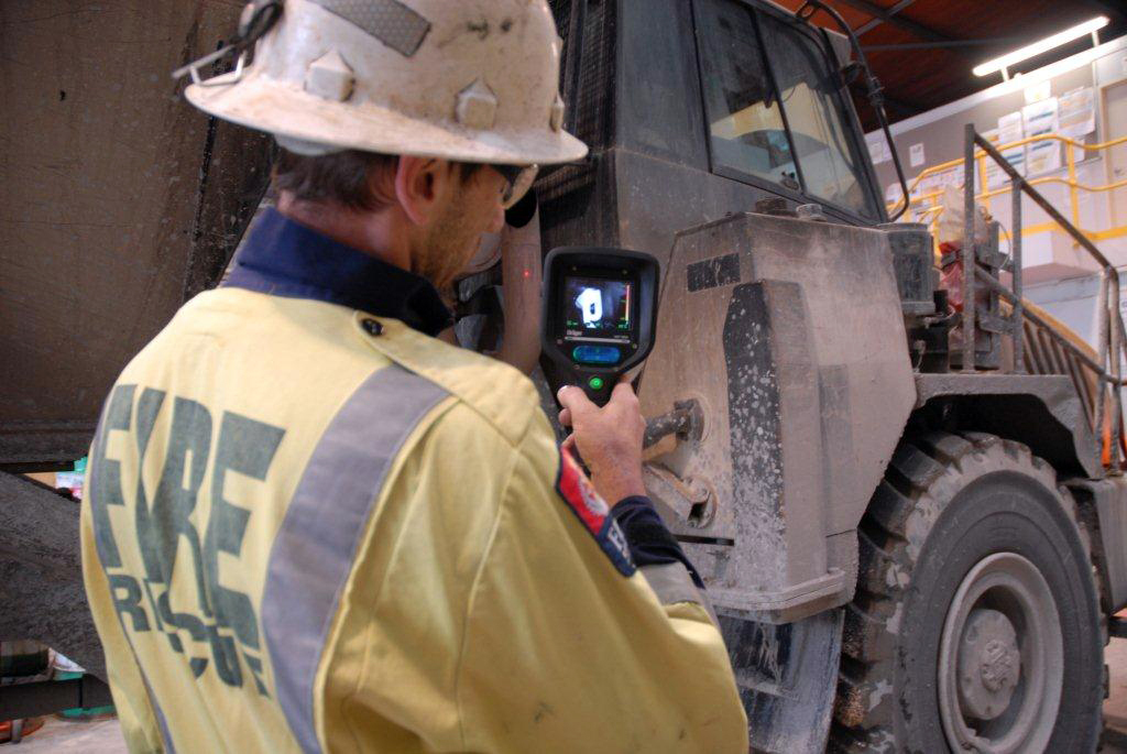 a thermal imaging camera being demonstrated in a workshop at at Newmont Waihi Gold's Trio underground mine in Waihi,