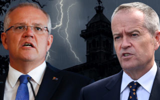 Scott Morrison and Bill Shorten in front of a spooky house.