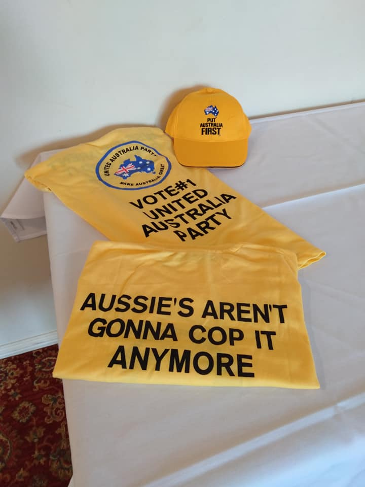 Clive Palmer's United Australia Party merchandise made in China
