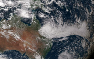 A satellite image of cyclone Debbie.