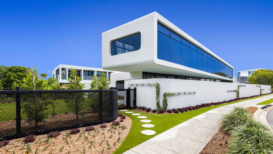 A white futuristic house in NSW