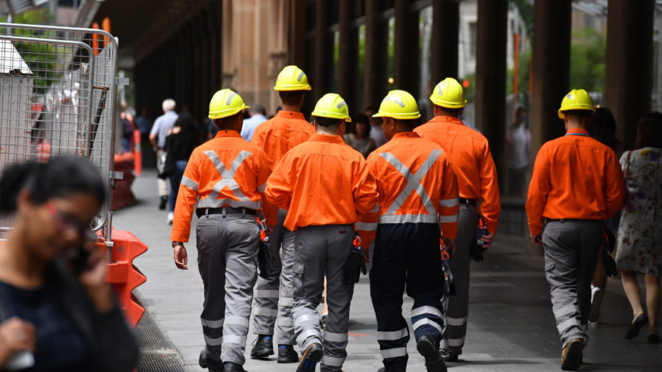 Construction workers in Sydney.