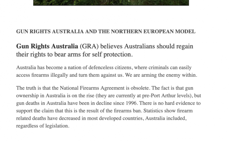A post from the Gun Rights Australia website.
