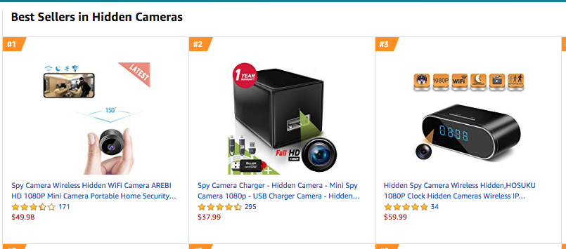 Hidden spy cameras can be purchased off Amazon for as little as $37.99
