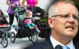 Scott Morrison superimposed over a group of babies in their prams.