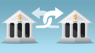 Two banks with twisting arrows showing customers swapping.