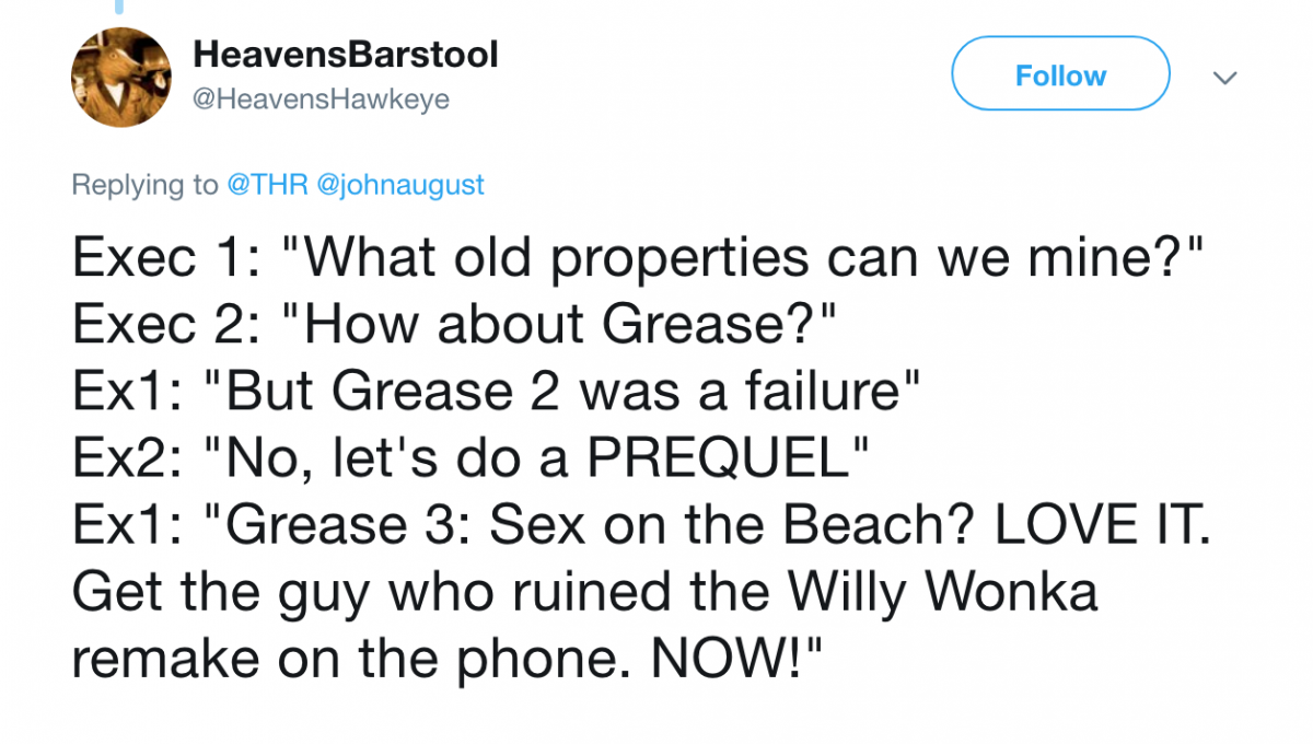 Grease prequel Twitter