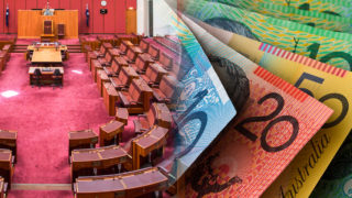 The floor of the Australian senate and some money.
