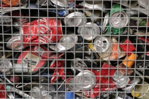 Recycled cans from yellow bins sorted