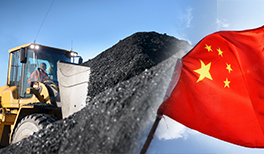 A Chinese flag and a pile of coal.