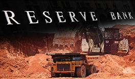 The Reserve Bank logo splashed across the top of an iron ore mine.
