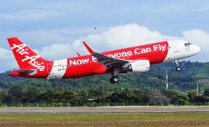 An AirAsia flight takes off.