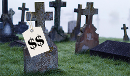 A tombstone with a price tag.