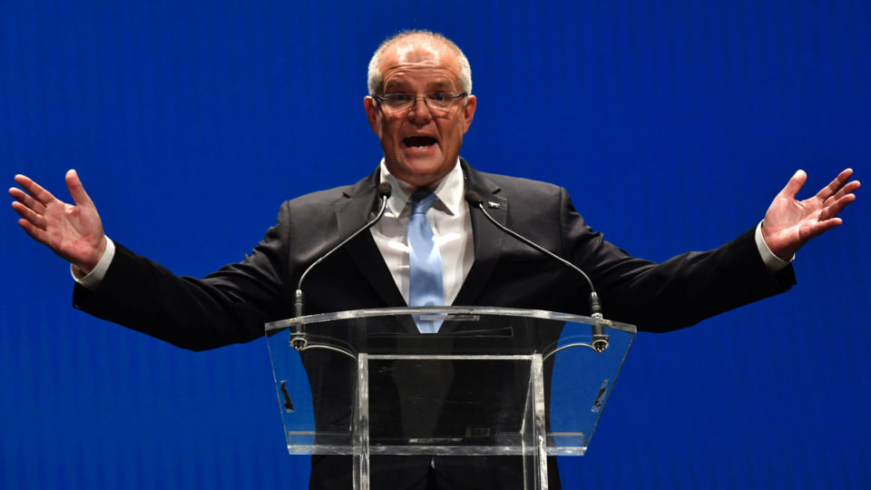 Prime Minister Scott Morrison at the campaign launch on Sunday.