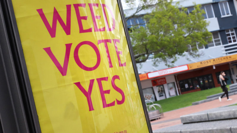 poster in favour of a 'yes' vote in the upcoming referendum in the legalisation of recreational cannabis use on a billboard in Garden Place, Hamilton, on 8 October 2020.