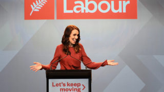 Labour Party leader and New Zealand Prime Minister Jacinda Ardern claims victory during the Labor Party Election Night Function at Auckland Town Hall