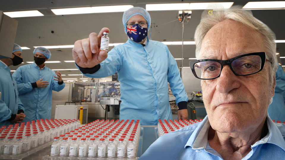 Scott Morrison holds a COVID vaccine vile. Dennis Atkins' headshot is in the corner.