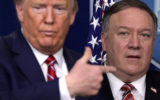 President Donald Trump directs questions to Secretary of State Mike Pompeo during a news briefing on the latest development of the coronavirus outbreak in the U.S