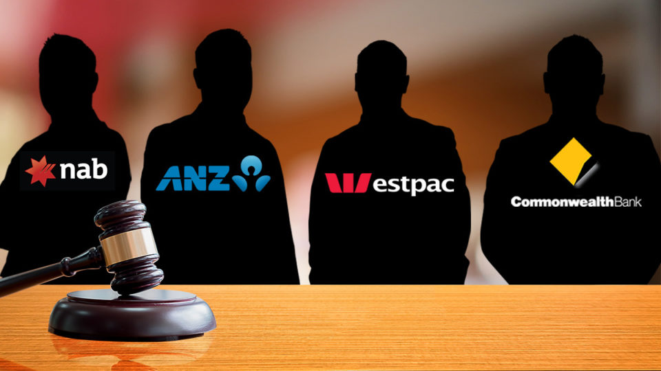 Four silhouettes of bankers behind a court house desk.