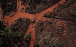 An aerial shot of the Córrego do Feijão mine disaster.