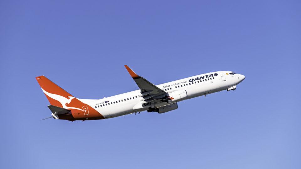 A Qantas plane mid-flight