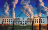 Parliament house dominated by huge smoke-stacks.