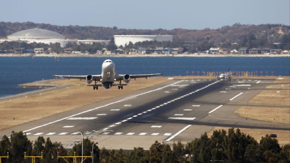 A plane takes off.
