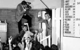 Bob Hawke waves to news cameras following his victory at the 1983 election.