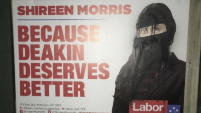 Deakin's Labor candidate slams 'disgraceful' poster vandals
