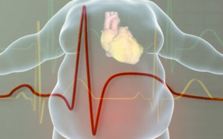 illustration of obese man with heart disease