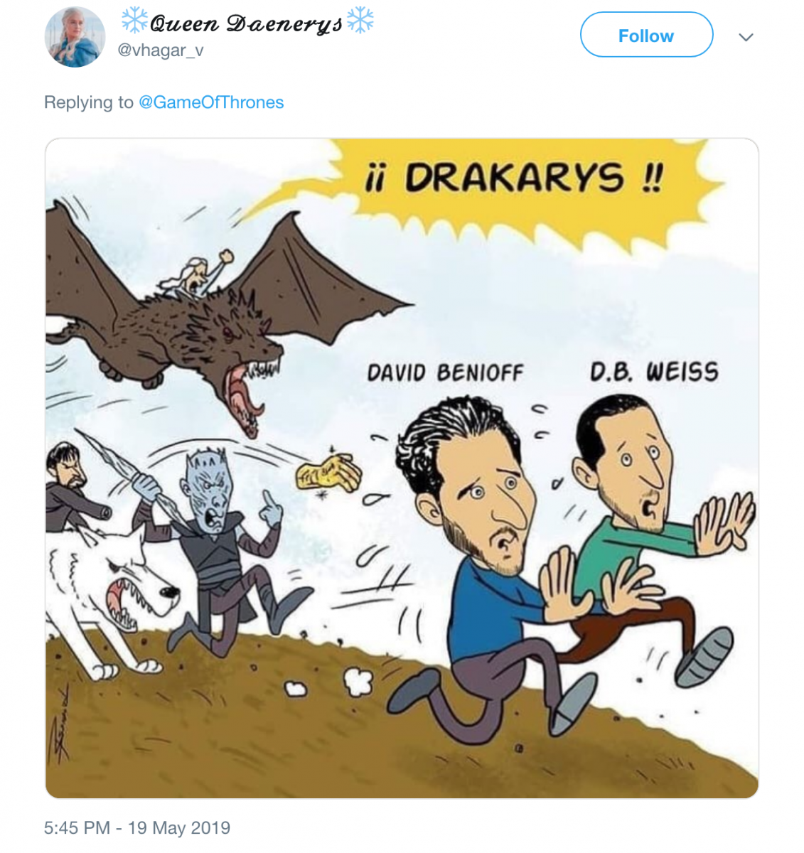 Game of Thrones tweet