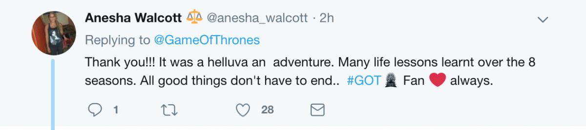 Game of Thrones positive tweet
