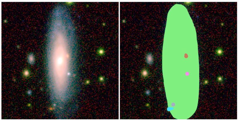 An image of an AstroQuest galaxy alongside how it looks in the AstroQuest platform